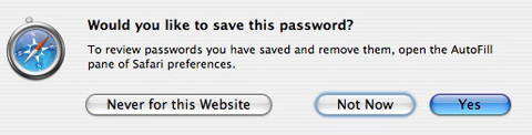 Safari Confirm Password Save